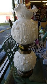 White Fenton Gone With The Wind Lamp #2490-95 in Camp Lejeune, North Carolina
