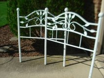 twin size white metal headboard and footboard note: CAN EASILY BE REPAINTED $25 in Aurora, Illinois