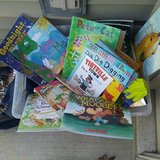 Big Bin of Kids books for 25 cents each. Outside Shopping in Aurora, Illinois