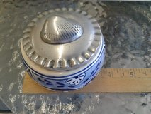 Pewter Shell Topped Nautical Pottery Box #1265-4802 in Camp Lejeune, North Carolina