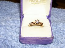 Vintage 1977 Diamond Engagement Ring with Decorative Yellow Gold Mounting in Plainfield, Illinois