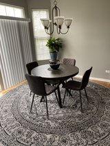 "West Elm 42"" Kitchen Table, 4 Gray Chairs, 10x10 ft. Area Rug in Naperville, Illinois"
