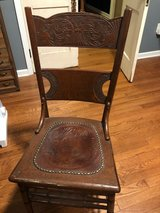 Handcrafted Wooden Side Chair with Leather seating in Camp Lejeune, North Carolina