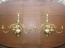 """VIRGINIA METALCRAFTERS 23"""" 3 Arm Brass Wall Sconces Set of 2 MASSIVE in Glendale Heights, Illinois"""