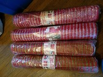 4 rolls of deco mesh red green red silver in Yorkville, Illinois