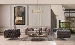 United Furniture - Mild'or Livingroom Set in Light and Dark Grey Velvet including delivery in Ramstein, Germany
