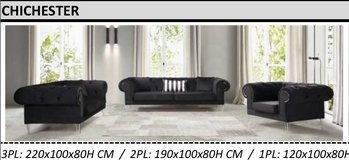 United Furniture - Chichster Living Room Set in Black Velvet including delivery in Spangdahlem, Germany