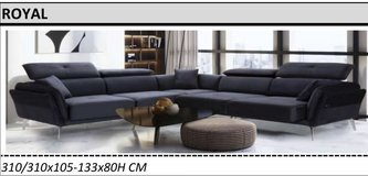 United Furniture - Royal Living Room Sectional with Bed Function in Anthrancite Velvet incl. Del... in Wiesbaden, GE