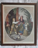 Old British prints (2), framed, 'The Cottage Breakfast' and 'The Cottage Supper' in Okinawa, Japan