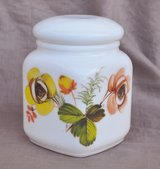 Italian milk glass container for sugar, coffee or flour in Okinawa, Japan