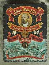 Old English tin box for Jack Daniel's whisky in Okinawa, Japan