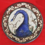 Amazing handmade decorative plate by F. Rava, from Faenza, Italy in Okinawa, Japan