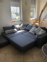 Grey sectional couch with two chairs DOG FRIENDLY Home in Grafenwoehr, GE