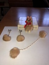 1960's Mink Drop Earrings, Sweater Card and Pin - in original box in Naperville, Illinois