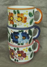 Set of 3 large handmade cups for coffe/latte from Deruta, Italy in Okinawa, Japan