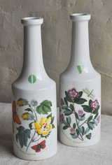 Vintage (1972) English oil and vinegar ceramic jugs with butterflies and flowers in Okinawa, Japan