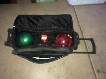 Bowling ball bag and bowling balls in Nellis AFB, Nevada