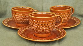 Italian vintage brown ceramic cups (3) for coffee or tea with saucers in Okinawa, Japan
