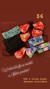 Washable face masks w/ filter pocket. in Pearl Harbor, Hawaii