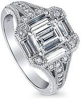 FINAL REDUCTION**Emerald Cut CZ In Art Deco Engagement Ring***SZ 7 in The Woodlands, Texas