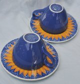 Italian cups (2) for cappuccino/latte with saucers, new in Okinawa, Japan