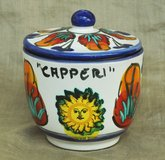 Italian handmade ceramic container for capers, from Lipari island in Okinawa, Japan