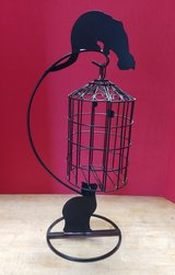 Black Cat Silhouette Hanging Basket Decoration in Kingwood, Texas