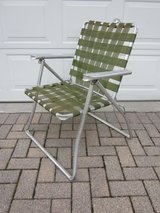Aluminum Folding Chair Olive Green 1960s / 1970s in Naperville, Illinois