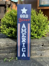 """wooden door sign """"god bless America"""" in Spangdahlem, Germany"""