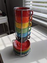 Stacking Espresso 4oz Mugs & Saucers w/ Chrome Rack in Fort Belvoir, Virginia