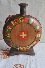 Vintage Swiss wooden liquor bottle with all the coat of arms of Switzerland in Okinawa, Japan
