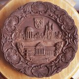 German wooden carved plate from Wiesbaden in Okinawa, Japan