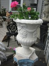 white shabby chic  urn with bows and flowers in Naperville, Illinois