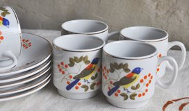 German vintage set of espresso cups (5) with saucers in Okinawa, Japan