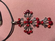 Cross Silver with Red Faceted Crystals Filigree on Black Leather Chain with Extension in Kingwood, Texas