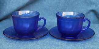 French blue glass cups (2) for tea or coffee with saucers in Okinawa, Japan
