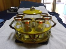 Vintage Medal Glass Bar Lazy Susan Caddy in Okinawa, Japan