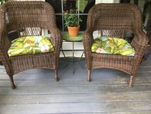 Wicker chairs w small standing tile top table in Warner Robins, Georgia