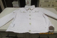"""Polo"" White Denim Jean Jacket For Women - Size XL - Gently Used in Houston, Texas"