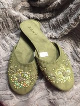 Sequined Sage Brushed Velvet Slippers - Large NEW! in Naperville, Illinois