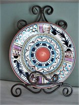 Sienna Hand Painted Plate with Wrought Iron Holder in San Antonio, Texas