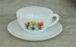 French white glass cup for espresso with saucer in Okinawa, Japan