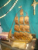 Signed Sculpture - Brass Sailing Ship 1976 in 29 Palms, California