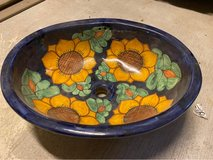 Mexican hand-painted sink in Kingwood, Texas