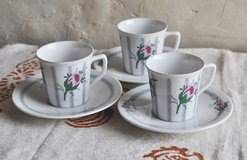 Set of 3 German fine porcelain cups and saucers for espresso coffee in Okinawa, Japan