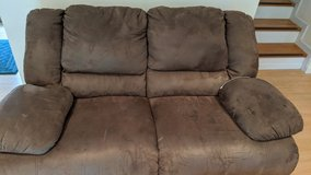 2 brown Ashley reclining microfiber couches. in Okinawa, Japan