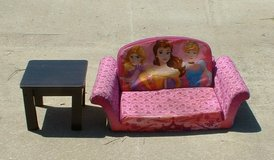 Disney princes foam bed couch w/ end table in Warner Robins, Georgia