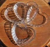 Heart-shaped French small glass containers (5) in Okinawa, Japan