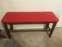Bench with red top in Fort Leonard Wood, Missouri