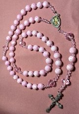 Rosary Pink White Marbled Glass Beads Czech Crystal Accents Guardian Angel Color Medal Italian S... in Kingwood, Texas
